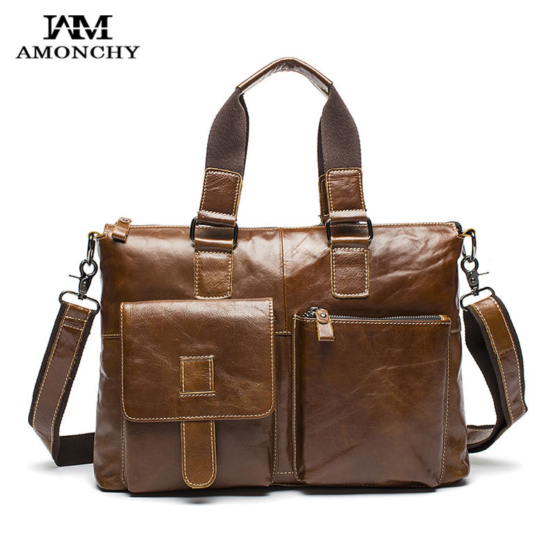 AMONCHY Natural Leather Men Handbags Hot Selling Men Leather Shoulder Bags Tote Casual Male Laptop Bag For Business Briefcase 12 amonchy genuine leather men shoulder bags handbags crocodile male bags natural leather man messenger bag alligator totes sac m50