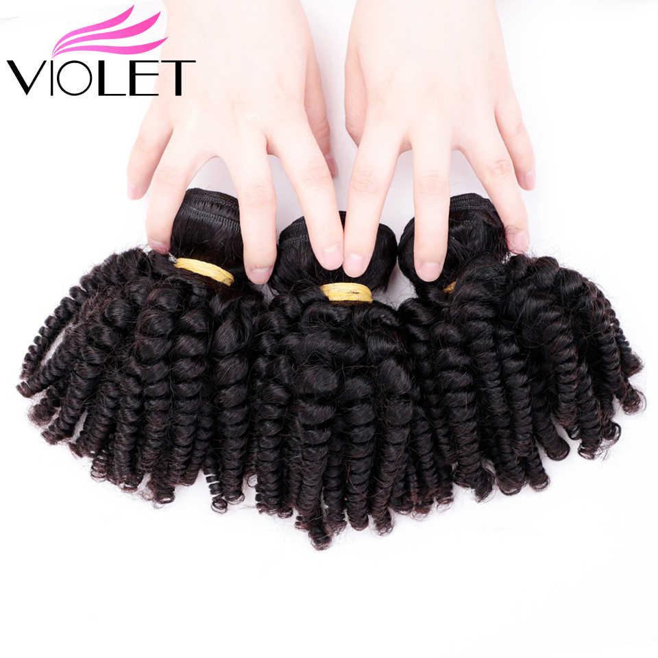 VIOLET Brazilian Bouncy Curly Human Hair Weaves 1/3/4 Bundles Funmi Hair Extensions Non Remy 100% Human Hair Bundles
