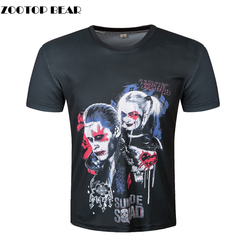 2017 3d suicide squad t shirts harley quinn joker t shirt. Black Bedroom Furniture Sets. Home Design Ideas