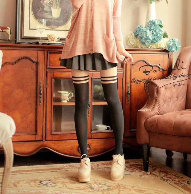 a39c6a9b22d53 ... Popular in Japan Girl Women Sexy velvet Double stripes Tights fake High  Stocking Pantyhose Mock High