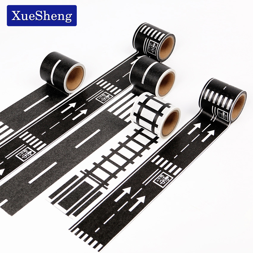 48mmX5m Railway Road Paper Washi Tape Wide Creative Traffic Road Adhesive Masking Tape Road for Kids Toy Car Play Клейкая лента