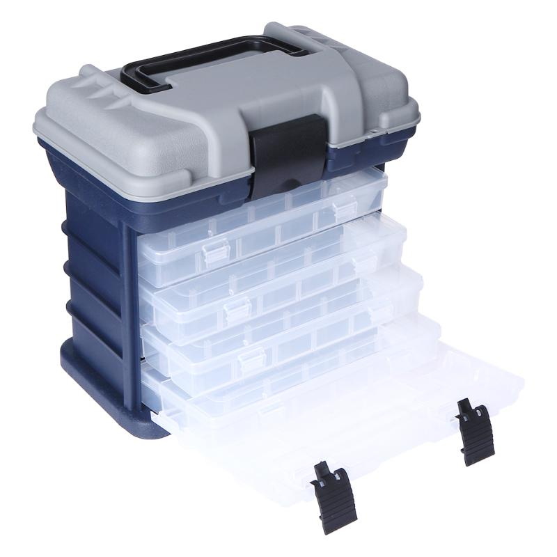 Portable Multi-Layer Fish Lures Container Durable Fishing Bait Tackles Storage Box Case with 4 Movable Bait Boxes portable storage case box for fishing gadgets transparent