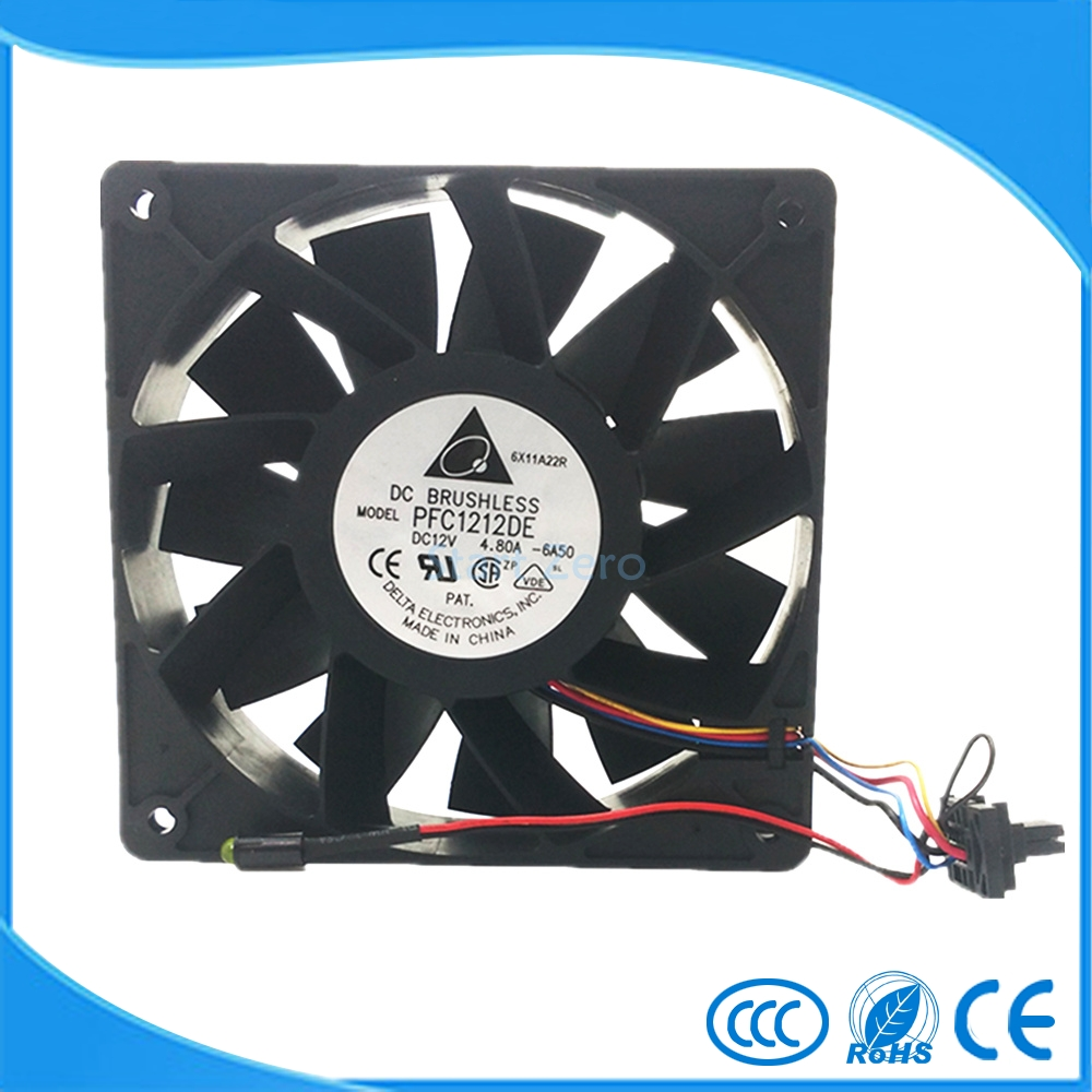 Delta PFC1212DE 120*120*38 mm 12038 1238 12CM DC 12V 4.80A server inverter cooling fan ball bearing free delivery 4e 115b fan 12038 iron leaf high temperature cooling fan 12cm