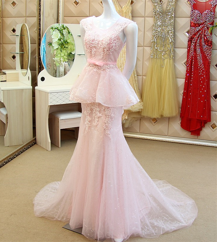 Custom Made robe de soiree 2015 Fishtail Lace Tulle Sexy Women   Evening     Dress   Mermaid Gown Free Shipping XE63