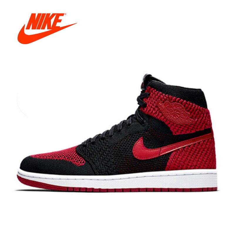 Original Nouvelle Arrivée Authentique Nike Air Jordan 1 Flyknit AJ1 hommes Respirant Chaussures de Basket-Ball de Sport de Sport En Plein Air 919704- 001