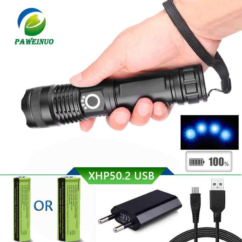 30000 lumens xhp50 high power flashlight Torch usb Rechargeable Zoom led torch 18650 26650 AAA battery police lantern light