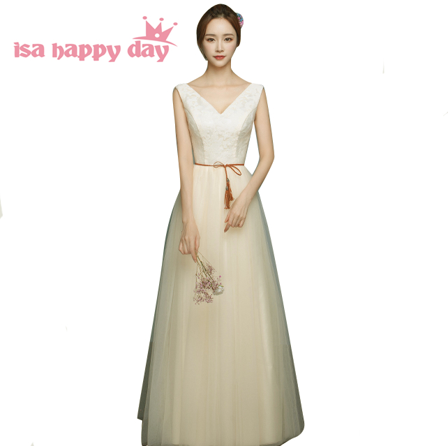 Champagne Boat Neck Bridesmaid's Formal Dress Girl Long Simple Tulle Party Dresses For Teens Bridesmaids 2019 Ball Gown B3958
