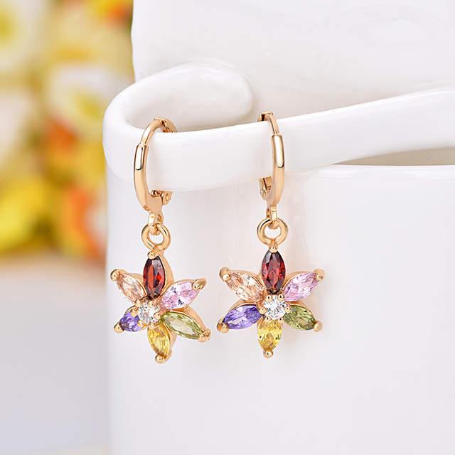 Online Shop Zircon Earring Flower Pendant Hexagonal Star Drop Earrings  Colored Rhinestone Six Jewelry Stone Cherry Blossom Rose Plated  8c7a61c4f330