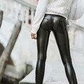 Мода 2016 Сексуальные Черные Леггинсы Женщины Искусственной Кожи Stretch Push Up Леггинсы Тощий Низкой Талией Тонкий Jeggings Бренд Леггинсы Женский