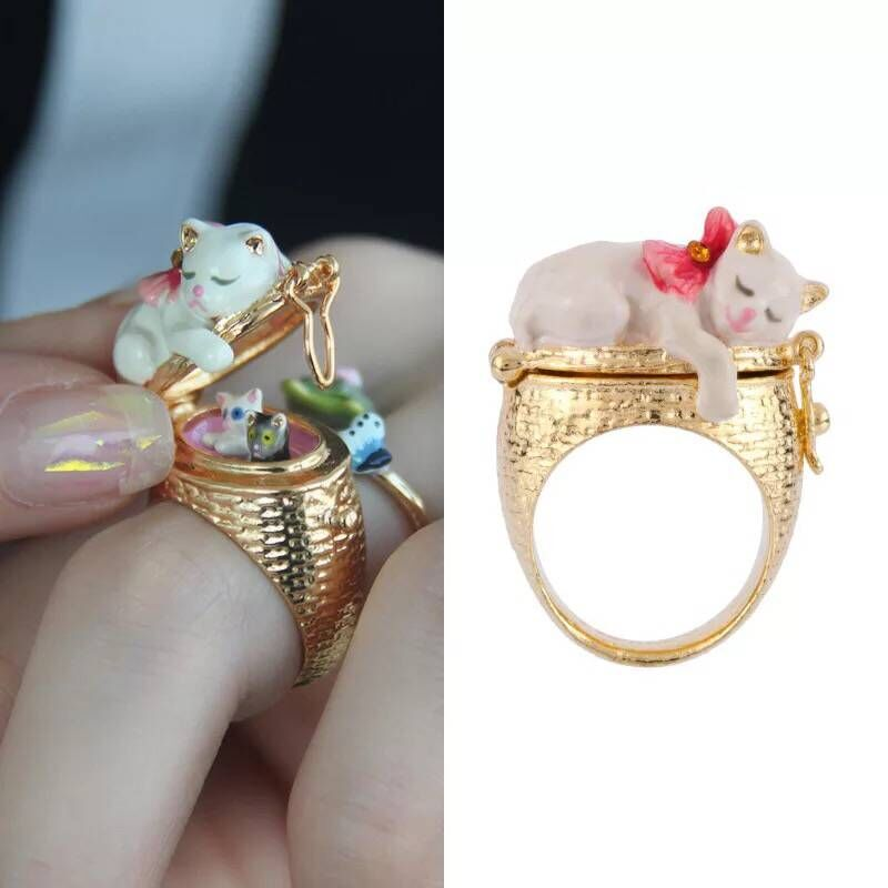 2018 Amybaby Handmade Designer Enamel Glaze Cats Spring Garden Womens Wedding Ring Jewelry