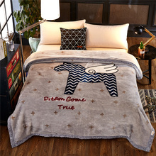 Winter Warm Raschel Blanket Animal Horse Printed Double Bed Cobertor Double Layer Queen King Size Thick Soft Mink Fur Blankets