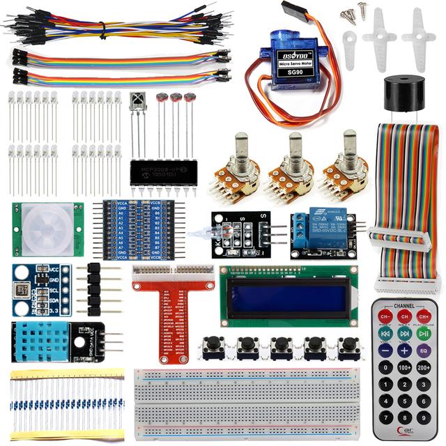Raspberry Pi 3 Starter Kit Suíte Aprendizagem Final 1602 LCD SG90 Servo Relé LEVOU Resistores