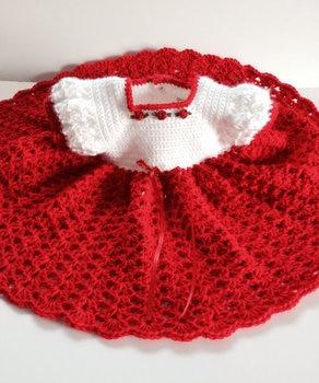 red  Princess Baby Dress Crochet   use