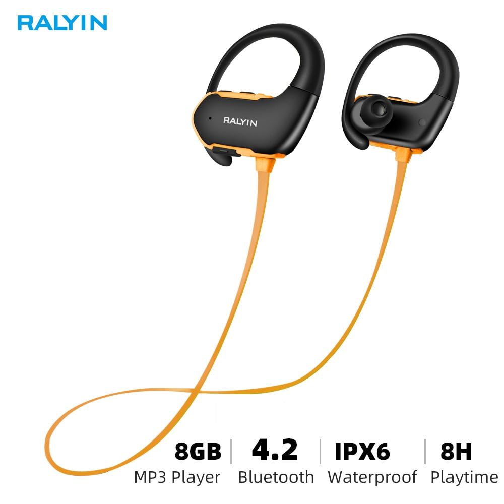 Ralyin Headphones Mp3-Player Bluetooth Waterproof Sport Wireless Mp3 8GB with Mic