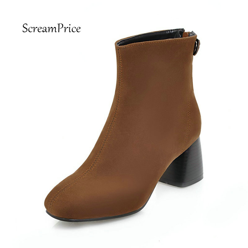 Women Faux Suede Comfortable Thick Heel Ankle Boots Fashion Square Toe Back Zipper Winter Shoes Brown Green B women winter suede colorful ankle boots fringe rivets short boots square heel women fashion winter tassel boots shoes