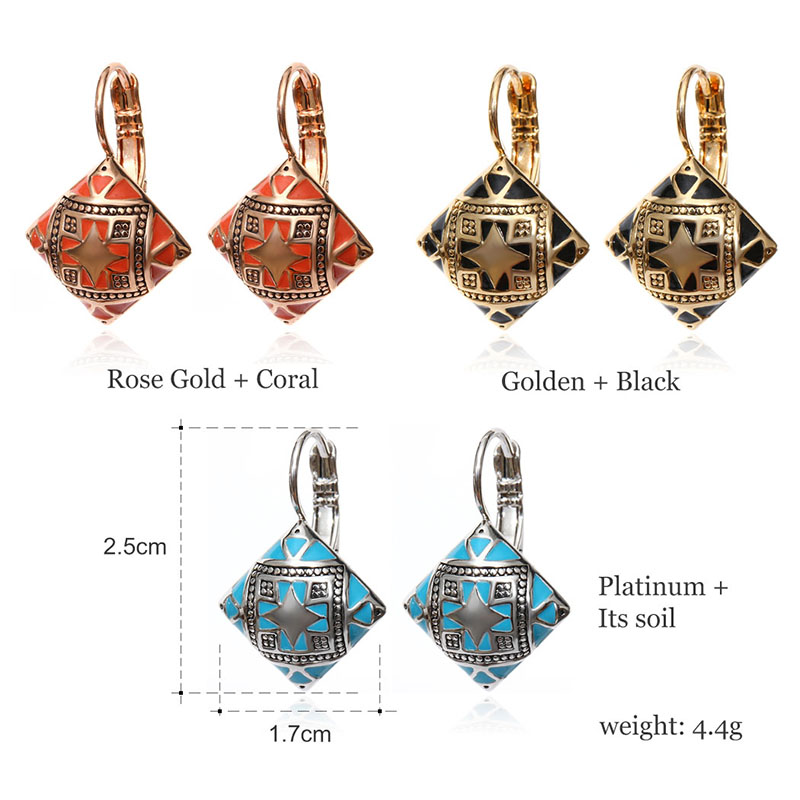Hot New Fashion Vintage Emalje Geometrisk Square Drop Earring Sølv - Mode smykker - Foto 5