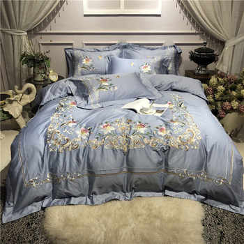 Luxury Blue Pastoral Flower Embroidery 80S Egyptian cotton Bedding Set Duvet Cover Bed sheet/Linen Pillowcases Queen King 4pcs - DISCOUNT ITEM  33% OFF All Category