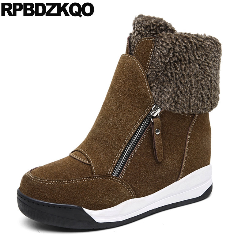 High Heel Suede Booties Platform Women Ankle Boots 2016 Round Toe Winter Muffin Creepers Shoes Height Increased Furry Kawaii Ear nemaone winter women round toe ankle boots high heels shoes double buckle platform short martin booties size 33 43