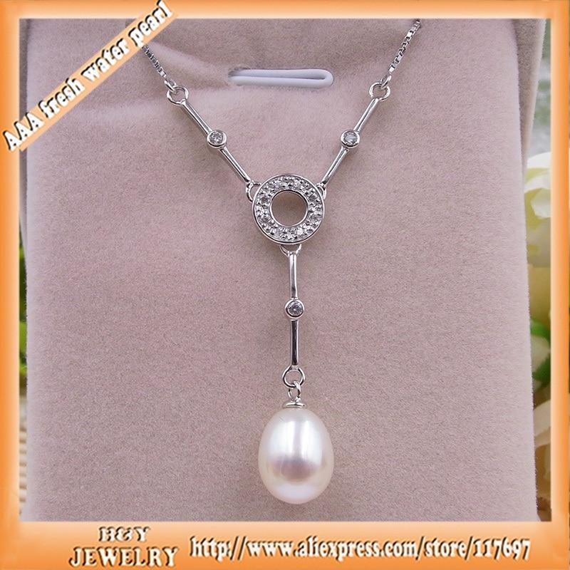 Collier de perles naturelles pour femmes avec 9.5mm de perles d'eau douce longueur de la chaîne 40 cm à 45 cm réglable 100% bijoux en argent pur
