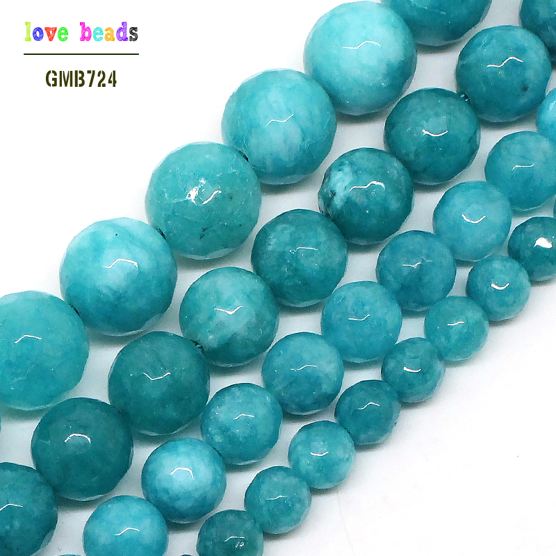 """Natural White Howlite Turquoise Gemstone Faceted Round Beads Free Shipping 15/"""""""