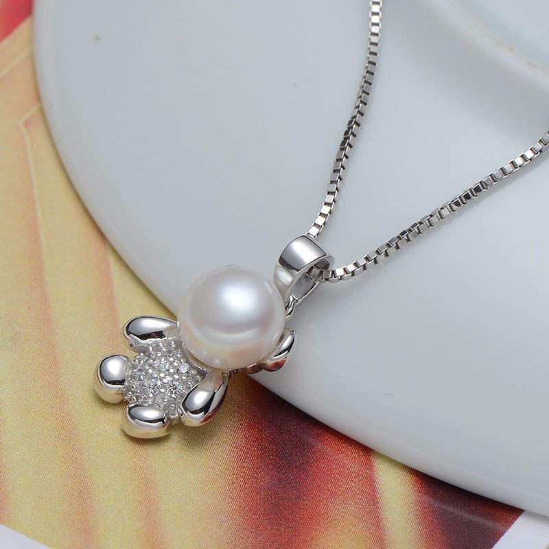 Pearl choker pendant necklace sterling silver jewelry for women lovely bear charms pd10194 (1)