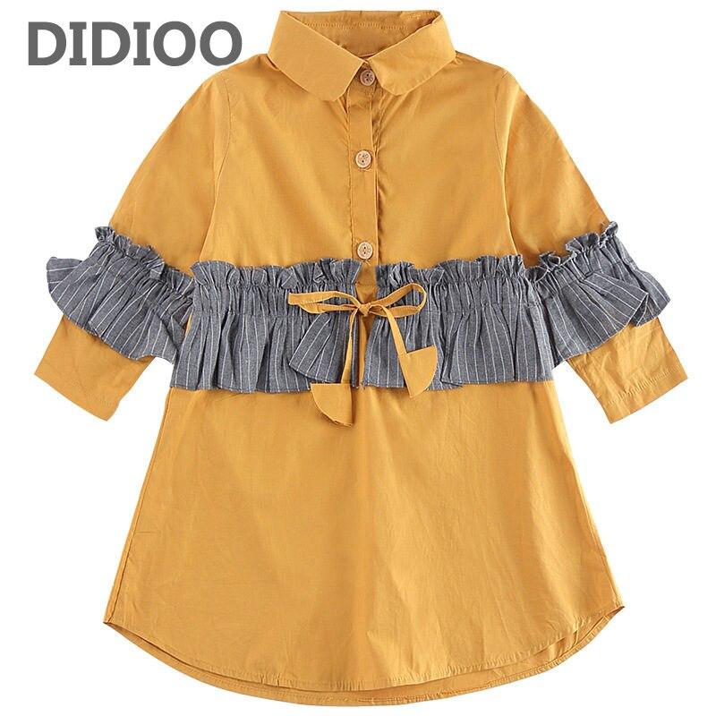 Girls Shirts Dresses for Kids Casual Dresses Autumn Vestidos Infantil Girls Blouses 4 8 9 10 12 Years Children Patchwork Dresses стоимость