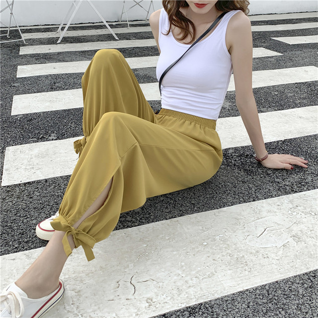 Beach Bloomers Woman Xia Kuansong Boxuefang Will Code High Waist Nine Part Pants Wide Leg Pants Defence Mosquito Radish Pants