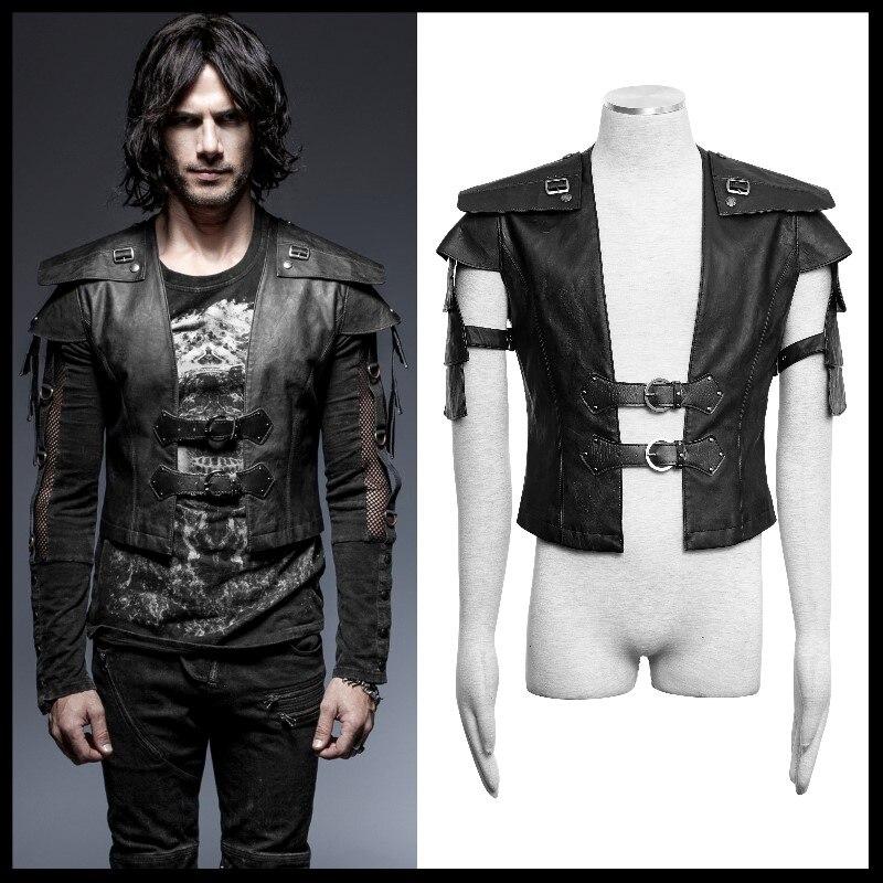 PUNK RAVE Steampunk Rock Cool Jacket Armor Warrior Mens Short Jacket Gothic Vintage Long Sleeve Handsome Leather Jacket Coats