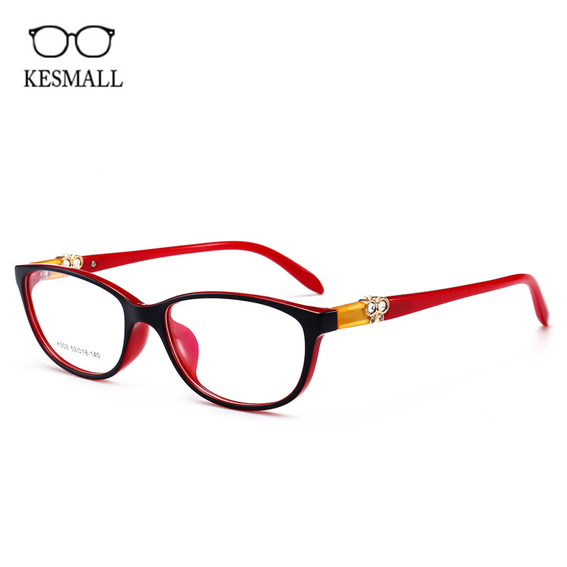 KESMALL Brand Retro TR90 Prescription Diopter Glasses Classic Style Women Gaming Eyeglasses With Clear Myopia Lens Hot XN919P