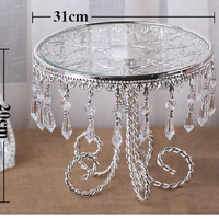 DIA 31cm Round Shape European Silver Plated Crystal Cake Accessories Cake Stand Fruit Stand Wedding Supplies Table Decoration