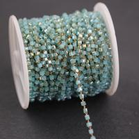 Light Blue Glass 2mm Square Cube Beads Rosary Style Beaded Chain,Glass Beads Wire Wrapped Bronze Copper Link Chain