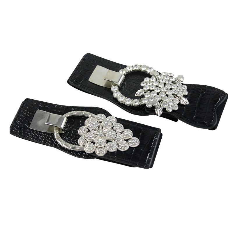 15PCS/LOT SINGYOU Women Fashion Belt Rhinestone Designer Buckle Elastic Stretch Waist Belt For Ladies Dress Luxury Cummerbunds