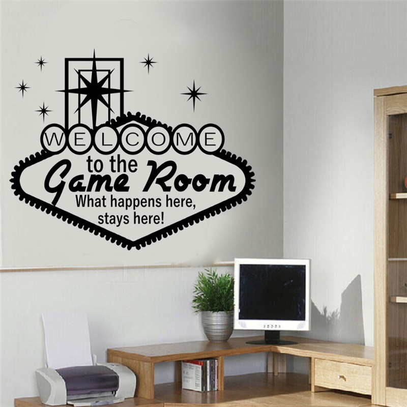 game room wall sticker boys teens bedroom door decal diy children bedroom living play room art. Black Bedroom Furniture Sets. Home Design Ideas