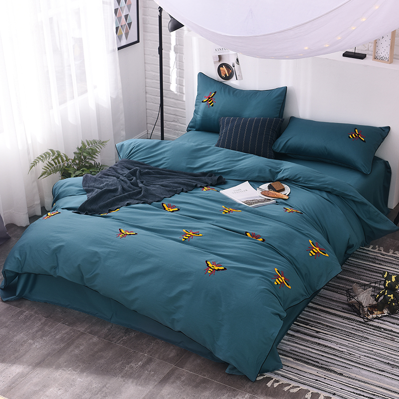 60s cotton bee embroidered cute bedding set king queen size bed linen bedclothes set green brown