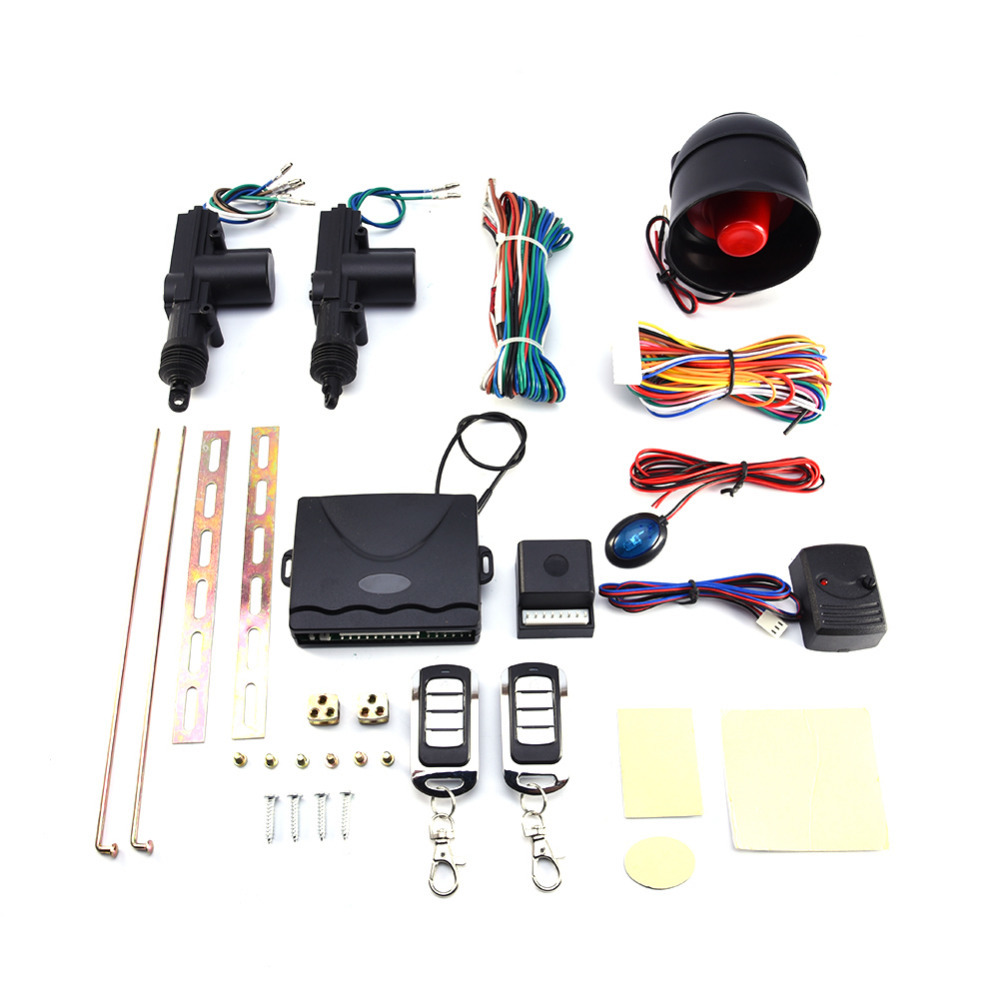 Kit de verrouillage Central à distance pour 2 portes de voiture + ensemble d'outils d'alarme antivol kit de verrouillage Central à distance et alarme de voiture pour 2 portes