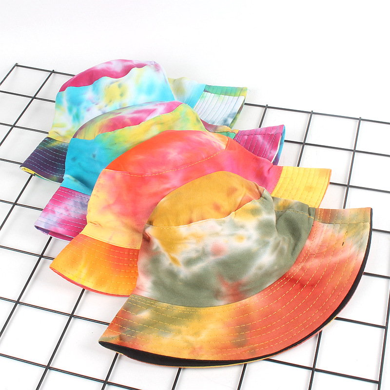 10pcs/lot 01808-luyi325  tie-dye iridescence flat  leisure  bucket cap men woman sun fishmen  hat wholesale