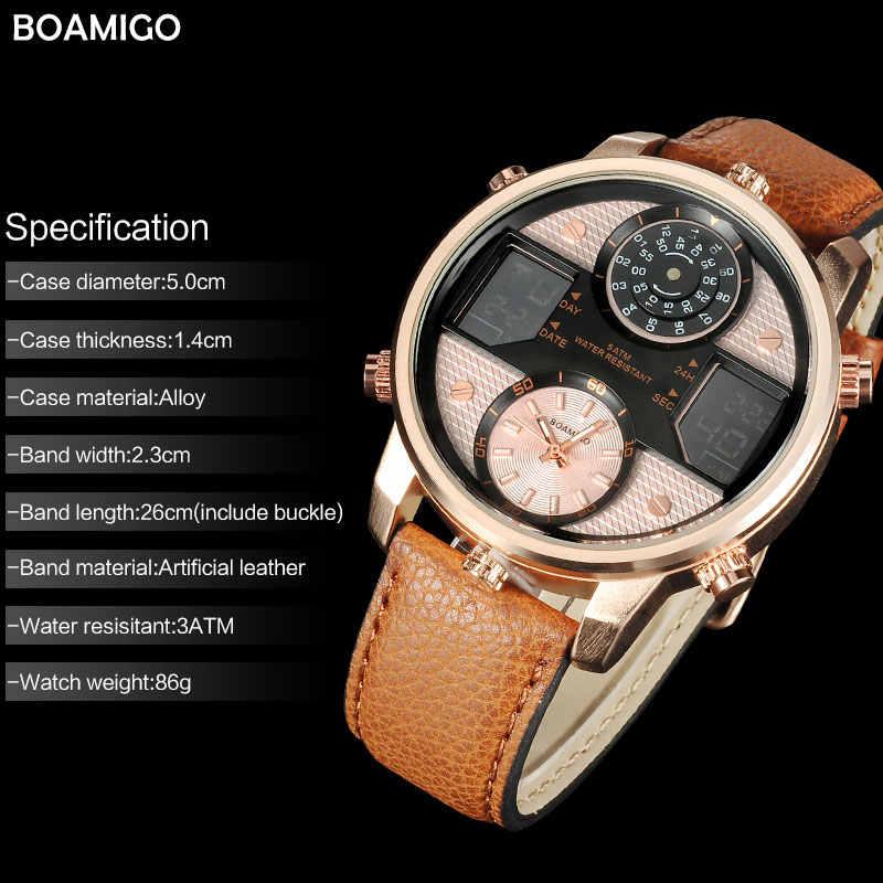 Relojes de cuarzo para hombre, reloj de 3 zonas horarias, relojes deportivos digitales LED, relojes de pulsera de cuero para hombre, reloj de hombre, reloj Masculino