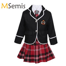 Kids Girls School Uniform British Style School Costume Anime Costume Suit Stage Performance Coat with Shirt Tie Mini Skirt Set(China)