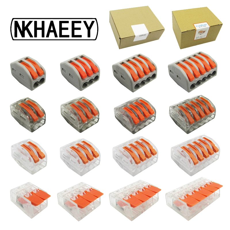 Free Shipping (100pcs/box) Wago Mini Fast Wire Connectors,universal Compact Wiring Connector Push-in Terminal Block Pct 212-415 Strong Resistance To Heat And Hard Wearing