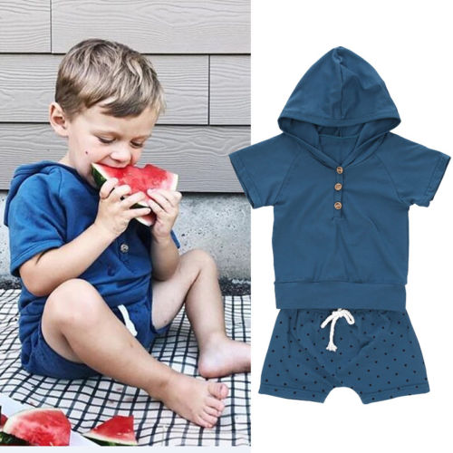 2 PCS Baby Boys Summer Hooded Sweatshirt T-shirt+Shorts Infant Outfits Cothes Set Baby Solid Cotton Hooded Short Sleeve Clothing
