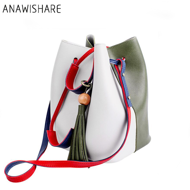 ANAWISHARE Women Leather Handbags Bucket Shoulder Bags Tassel Ladies Totes  Bags Crossbody Bags Composite Bags Bolsas 37695cd60e