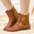 Handmade Plus Size Moda Fivela Plana Sapatos Mulher Ankle Boots de Couro Preto Conforto Ocasional Outono Inverno Senhoras Botas De Borracha