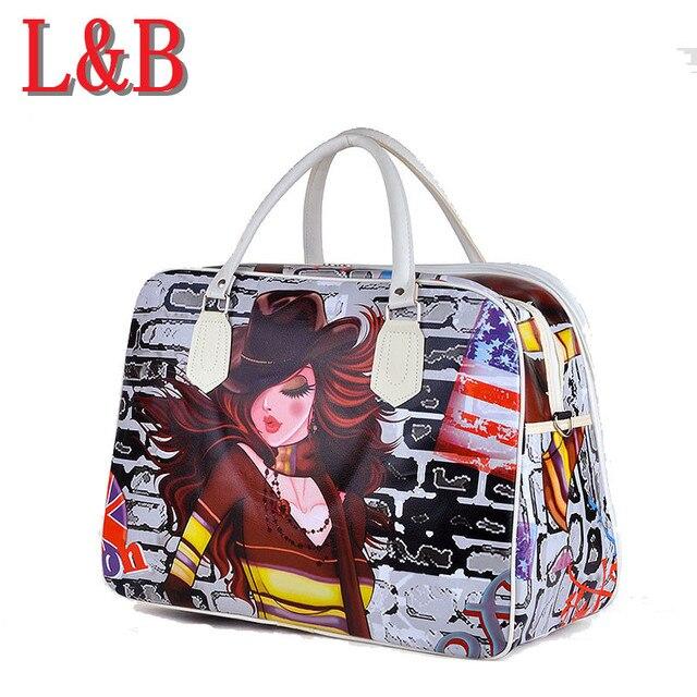 Мода девушка шаблоны симпатичные PU багажа дорожная сумка женская водонепроницаемый сумки женские сумки экскурсии сумки Чемодан коротких поездок