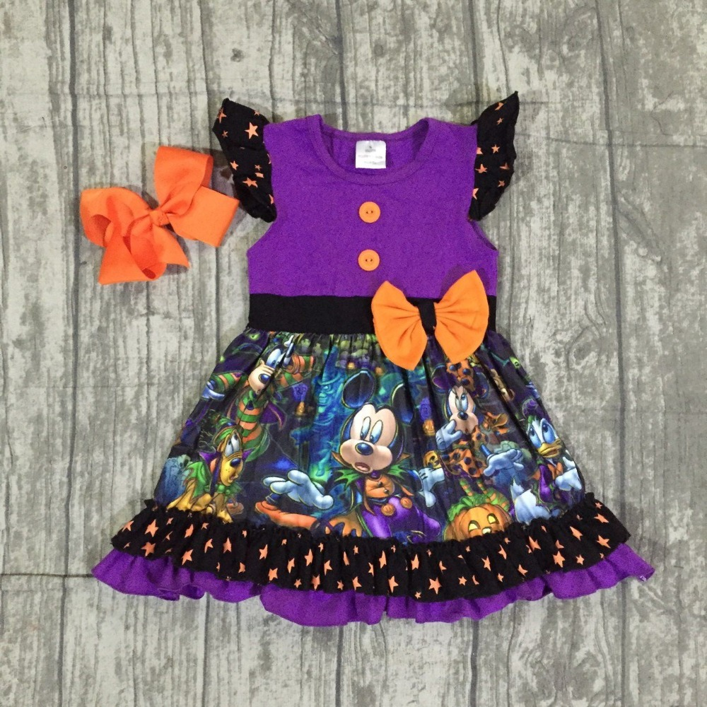 цены Halloween purple dress baby girls short sleeves mouse print milk silk pumpkin bow clothing boutique cartoon kids wear match bow