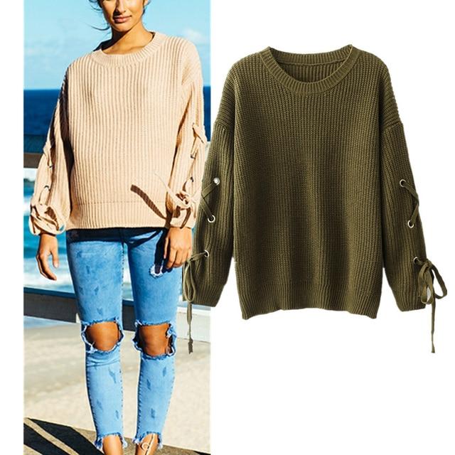 Suéteres de punto de mujer de FORERUN Otoño Invierno de encaje sólido pulóveres ropa de calle Sweters mujeres Invierno 2019 Dropshipping