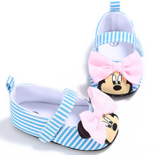 2019 Disney Minnie mouse spring and summer new 0-1 female baby Crib shoes soft bottom cartoon Princess girls  toddler