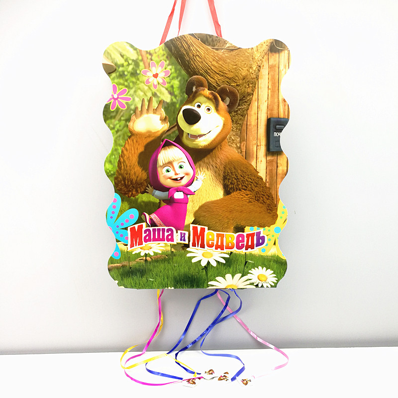 1pc 40*30cm Masha and Bear paper folding Pinata Cartoon 6 people play game Pinata Birthday Party Supplies Party Favors