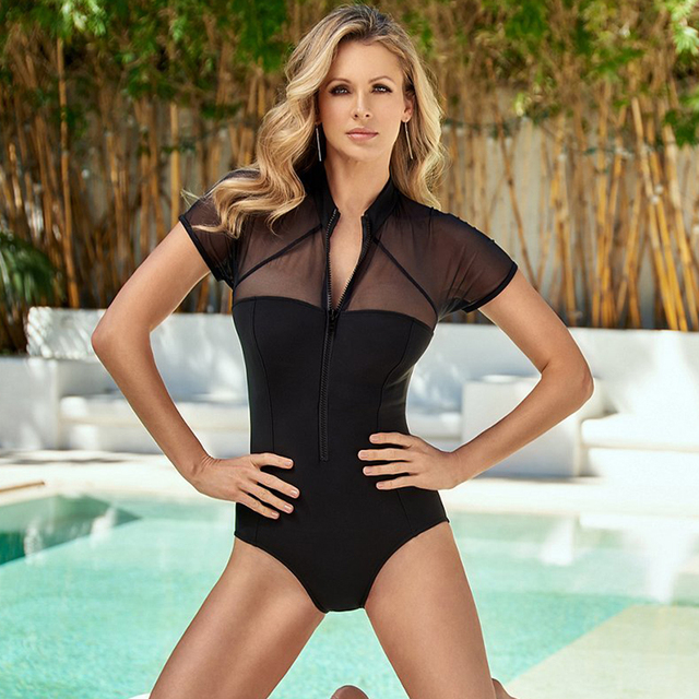e8338983870 Mesh One piece Swimsuit 2018 New Zipper Neck Monokini See Through Bathing  Suit Hollow Out Black Swimwear Short Sleeve Swimsuit