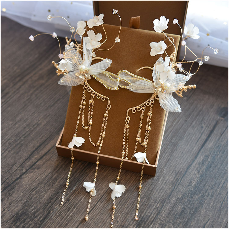 Korean style fashion Bride headdress beautiful ear hanging wedding head jewelry Super immortal