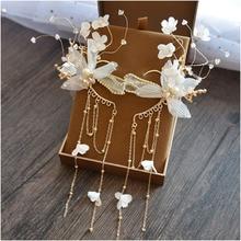 Korean style fashion Bride headdress beautiful ear hanging wedding head jewelry Super immortal